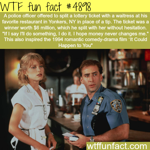Police officer shares a lottery money with a waitress - WTF fun facts