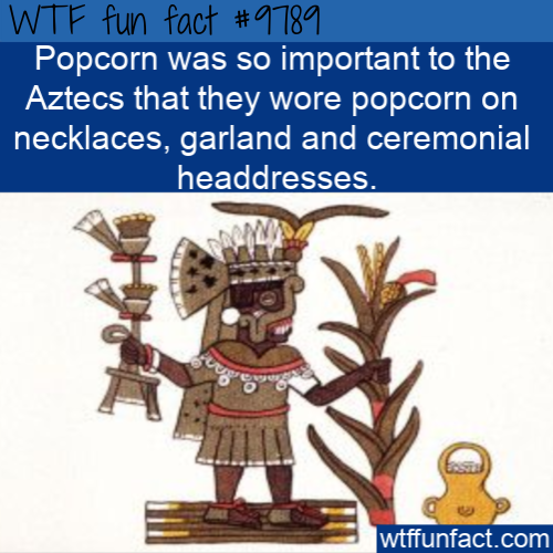 Popcorn was so important to the Aztecs that they wore popcorn on necklaces