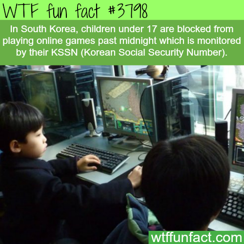 South Korean Children can't play online games passed midnight - WTF fun facts