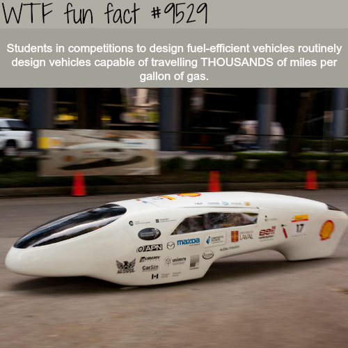 Students made vehicles that travel 2500 miles per gallon - WTF fun fact