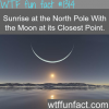 sunrise at the north pole with the moon at its closest p