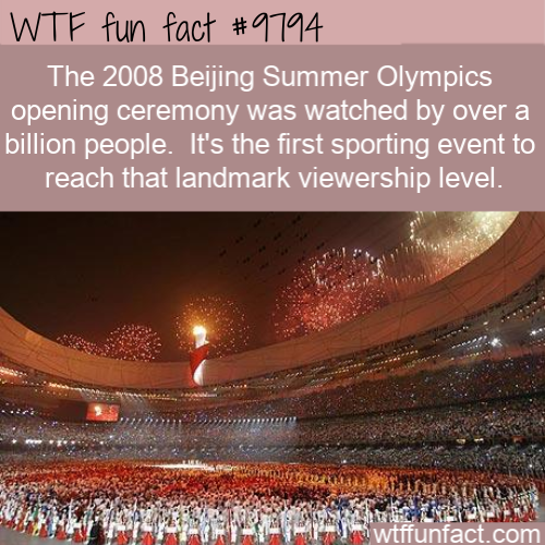 The 2008 Beijing Summer Olympics opening ceremony was watched by over a billion people.  It's the first sporting event to reach that landmark viewership level.