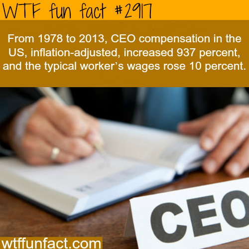 The average salary of a CEO -  WTF fun facts