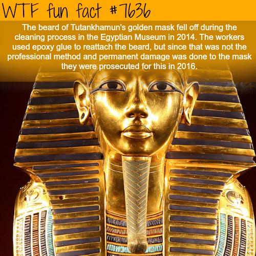 The beard of Tutankhamun's golden mask - WTF FUN FACTS