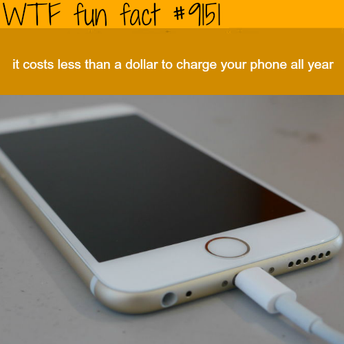 The cost of charging your phone - WTF Fun Facts
