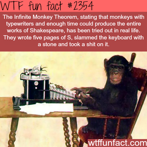 The infinite Monkey Theorem - WTF fun facts