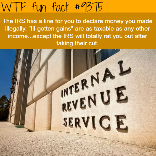 The IRS wants you to report your illegal income - WTF fun facts