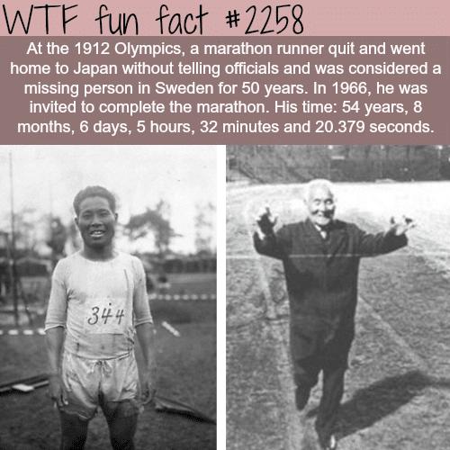 The longest marathon time -WTF fun facts