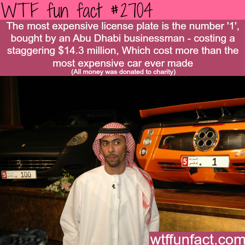 The most expensive licence plate in the world - WTF fun facts