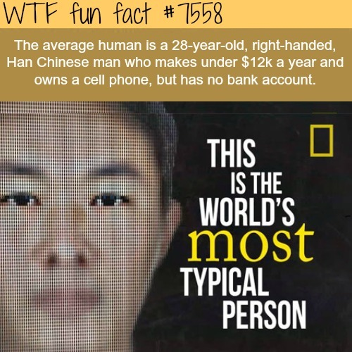 The most typical person in the world - WTF fun facts