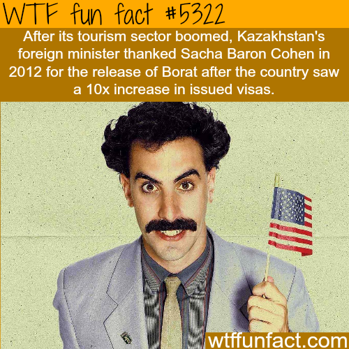 The movie Borat is credited with increasing Kazakhstan's tourism - WTF fun facts