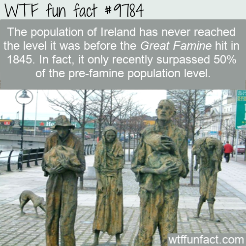 The population of Ireland has never reached the level it was before the Great Famine hit in 1845. In fact