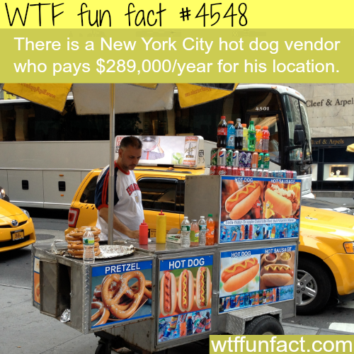 The price of a permit to push a hot dog cart in NYC -   WTF fun facts