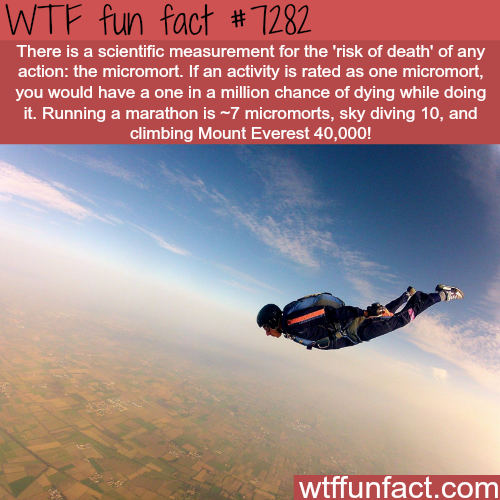"The ""risk of death"" measurement; micromort - WTF fun fact"