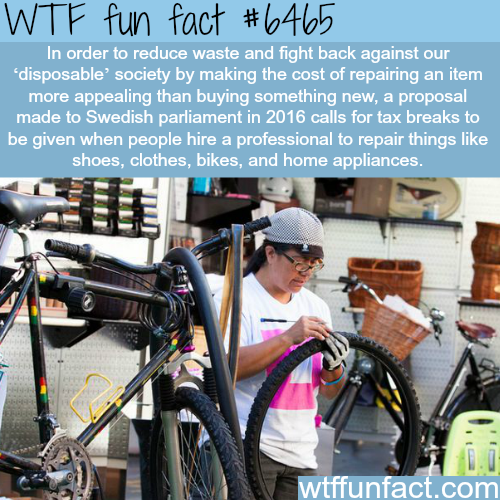 The Swedish government proposal tax break for repairs - WTF fun facts