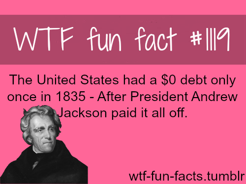 the U.S. national debt and president Andrew Jackson - facts