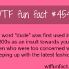 the word dude wtf fun facts