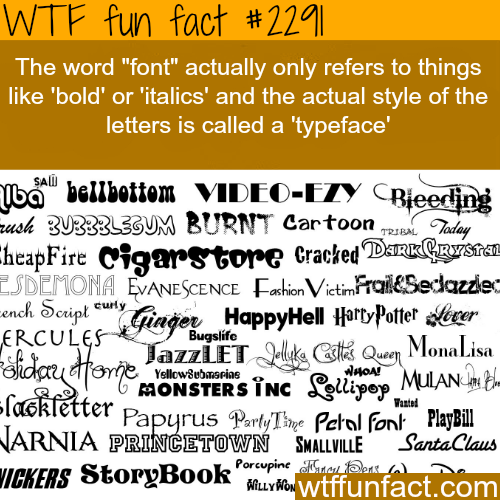 "The Word ""font"" and ""typeface"" - WTF fun facts"