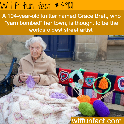 """This 104-year-old knitter """"yarn bombed"""" her town - WTF fun facts"""