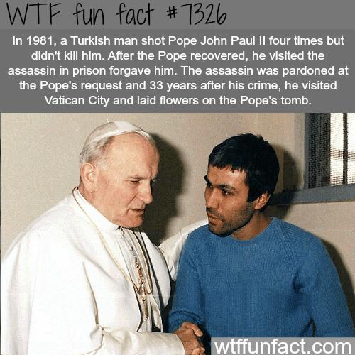 Turkish assassin who tried to kill Pope John Paul ll was pardoned - WTF fun fact