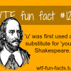 u was first used as a substitute for you by shakespeare