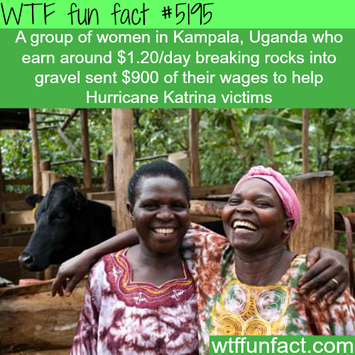 Ugandan women donate $900 to Hurricane Katrina victims - WTF fun facts
