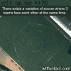 variation of soccer where 3 teams play at the same