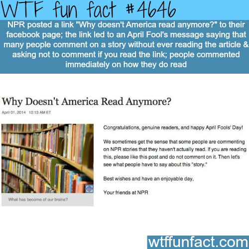 """""""Why Doesn't America Read Anymore"""" April fools prank by NPR - WTF fun facts"""