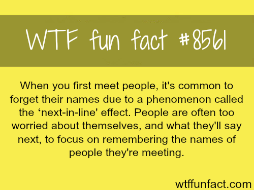 Why you forget people's name after you first meet them - WTF fun facts