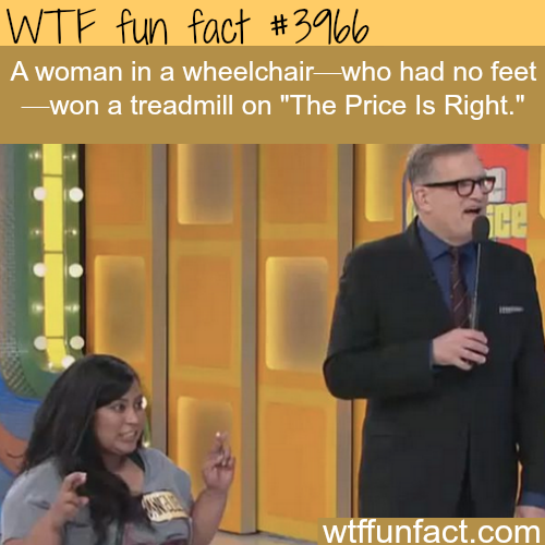 """Woman with no feet wins a treadmill on """"The Price Is Right"""" - WTF fun facts"""