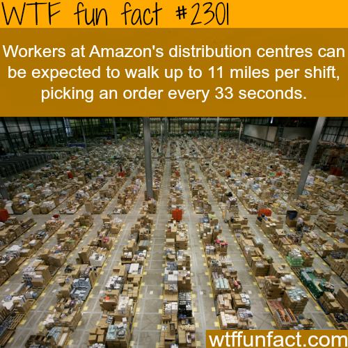 Workers at Amazon's distribution centres - WTF fun facts