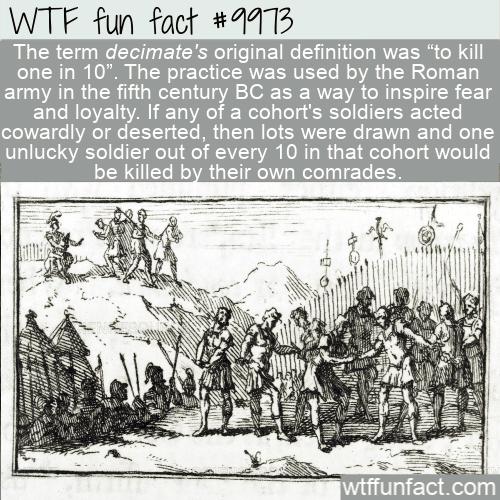 fun word fact origin decimate romans