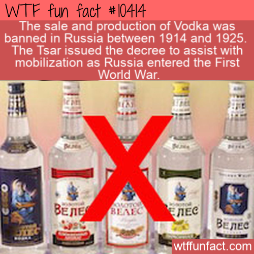 WTF Fun Fact - Vodka Banned In Russia