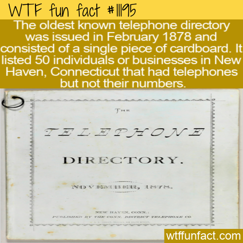 WTF Fun Fact - Oldest Telephone Directory
